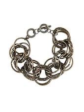 Brown Beaded Metallic Squares Bracelet - By