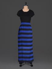 Blue Striped Black Maxi Dress - Meira