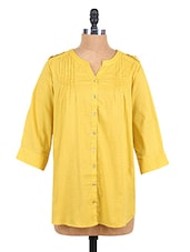 Solid Color Quarter Sleeve Top - Sepia