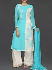 Sky Blue And White Embroidered Suit Set - SareesHut