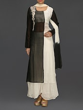 Black And Off-white Embroidered Suit Set - SareesHut