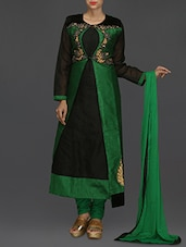 Green And Black Embroidered Suit Set - SareesHut