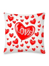 Multiple Glossy Red Hearts Printed Cushion Covers - By