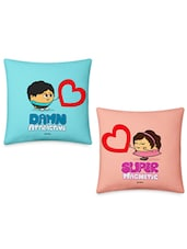 Cute Boy & Girl Offering Hearts Printed Cushions Cover Set - Little India Home