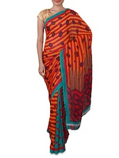 Stripes & Polka Dots Printed Georgette Saree - By