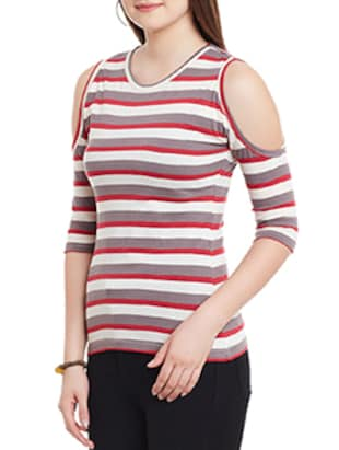 53195592a8b8ec white striped cotton cold shoulder top - 11590742 - Standard Image - 2 ...