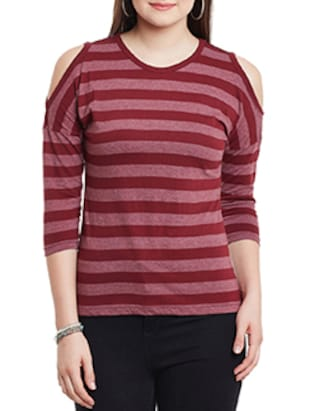 maroon cotton striped cold shoulder top