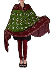 Green And Maroon Cotton Printed Dupatta - By