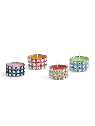 set of 4 multi colored aluminium tea light candle