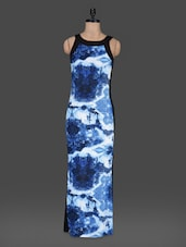 Blue Printed Sleeveless Maxi Dress - Bella Rosa