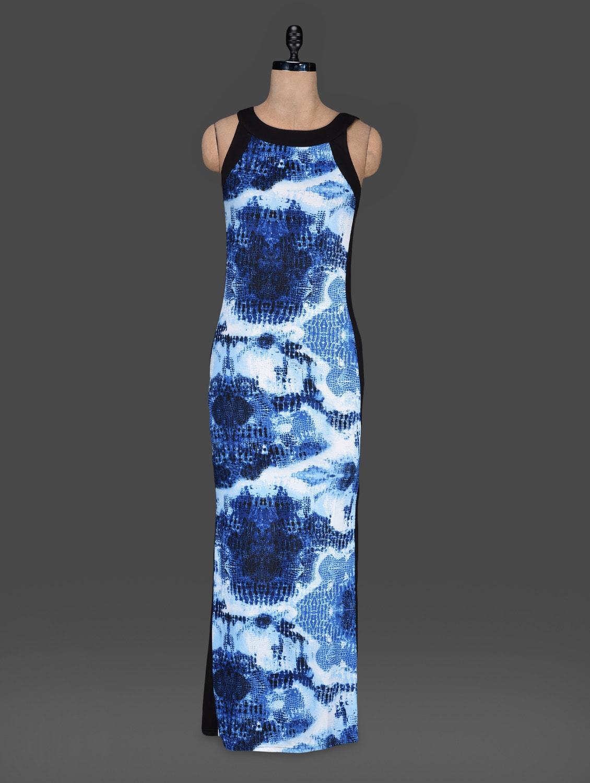 Blue Printed Sleeveless Maxi Dress - Bella Rosa