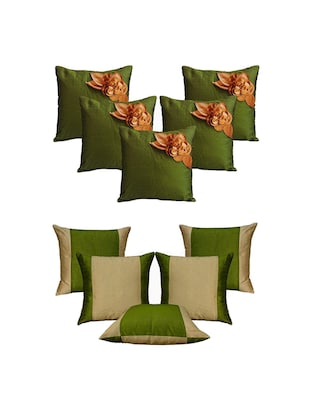 Set of 10 Green Floral  Cushion Cover