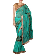 Green Chiffon Designer Saree - By