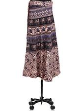 Bagru Printed Cotton Wrap Around Skirt - By