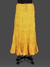 Yellow Leheriya Print Cotton Long Skirt - Soundarya