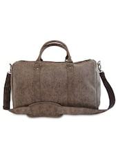 Dark Brown Leatherette Weekender Bag - By