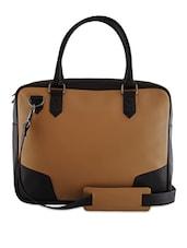 Tan And Dark Brown Leatherette Laptop Bag - Mohawk
