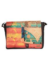 Brown Digital Printed Faux Leather Laptop Bag - Belkado Fashion