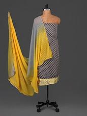 Grey Printed Chanderi Cotton Dress Material - Saara