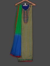 Green Printed Cotton Dress Material - Saara