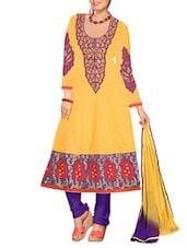 Yellow Embroidered Cotton Unstitched Anarkali Suit Set - PARISHA