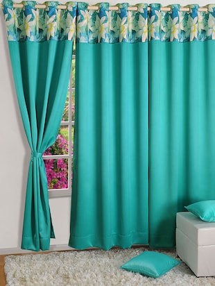 Turq Colour Solid PNP Blackout Eyelet Curtain