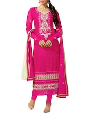 Pink Embroidered Stain And Cotton Straight Salwar Suit Suit Set - PARISHA