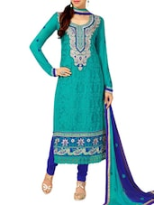 Green Embroidered Stain And Cotton Straight Salwar Suit Suit Set - PARISHA
