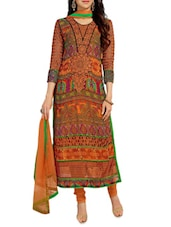 Multicolour Printed Georgette Straight Salwar Suit Suit Set - PARISHA