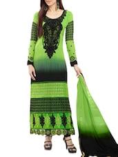 Green Printed Georgette Straight Salwar Suit Suit Set - PARISHA