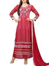 Red Printed Georgette Straight Salwar Suit Suit Set - PARISHA