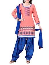 Orange Embroidered Cotton Unstitched Patiala Suit Set - PARISHA