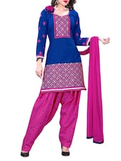 Blue Embroidered Cotton Unstitched Patiala Suit Set - PARISHA