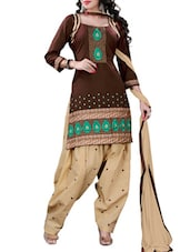 Brown Embroidered Cotton Unstitched Patiala Suit Set - PARISHA