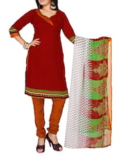 Red Printed Cotton Unstitched Patiala Suit Set - PARISHA