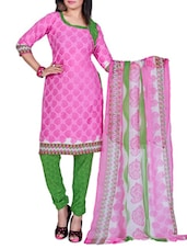 Pink Printed Cotton Unstitched Patiala Suit Set - PARISHA