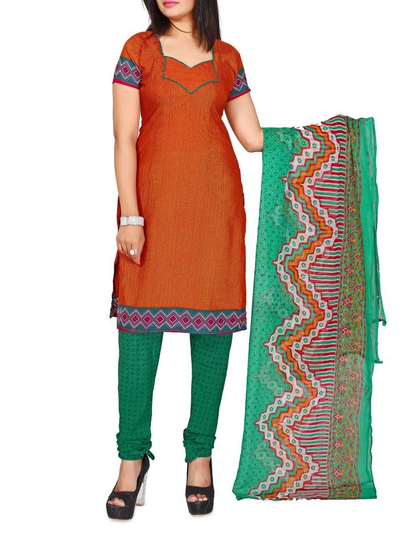 Brown Printed Cotton Unstitched Patiala Suit Set - PARISHA