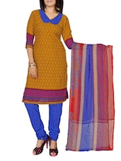 Yellow Printed Cotton Unstitched Patiala Suit Set - PARISHA