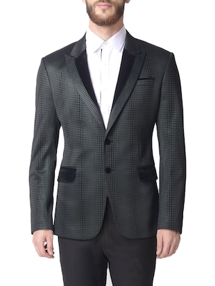 green cotton casual blazer