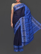 Navy Blue Printed South Indian Cotton Saree - South Indian Saree