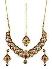 Multicolour Kundan Worked Metallic Necklace And Earrings Set - By
