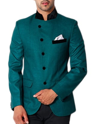 solid dark green cotton casual blazer