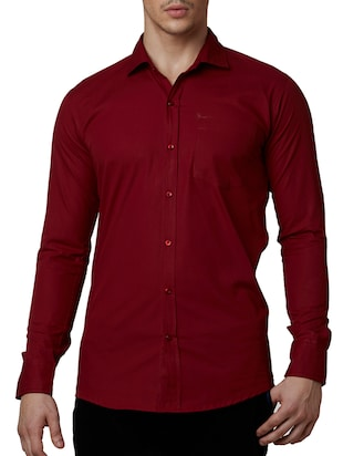 solid maroon cotton formal shirt