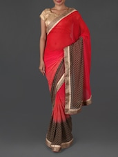 Gota Border Chequered Print Georgette Saree - Jmilan