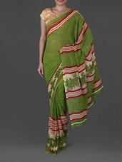Floral & Stripes Printed Weightless Georgette Saree - Jmilan
