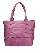 Solid Purple Leatherette Handbag - Bags Craze