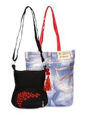 Set Of Denim Bag And Black Sling Bag - By