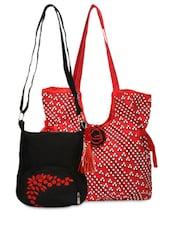 Set Of Red Printed Bag And Black Sling Bag - By