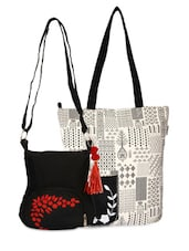 Set Of Monochrome Tote And Black Sling Bag - By