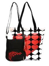 Set Of Printed Tote And Black Sling Bag - By